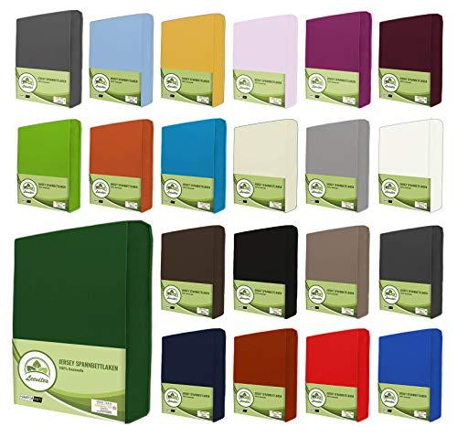 leevitex® Jersey Spannbettlaken, Spannbetttuch 100% Baumwolle in vielen Größen und Farben MARKENQUALITÄT ÖKOTEX Standard 100 | 90 x 200 cm - 100 x 200 cm - Dunkel Grün