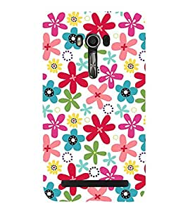 Multicoloured Floral Pattern with A White Back Ground 3D Hard Polycarbonate Designer Back Case Cover for Asus Zenfone Go (5 inches):: Asus Zenfone Go ZC500TG
