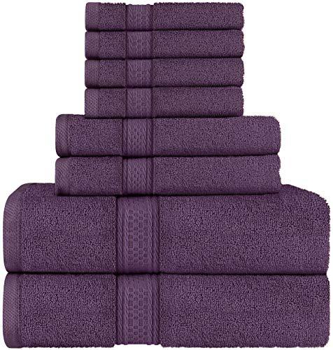 Utopia Towels - Handtuch Set aus Baumwolle - 2 Badetuch, 2 Handtücher und 4 Washclappen - 600 g/m² (Pflaume)