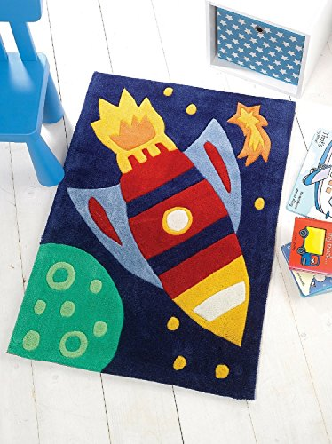 Flair Rugs–Alfombra infantil para niños Rocket alfombra, Multi, 110 x 160 Cm