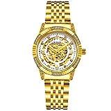 Binlun Damen Armbanduhr, 18 Karat vergoldet, luxuriöse Automatikuhr, Skelettuhr