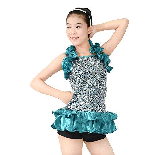 MiDee 2 Stück Schulterfreien Pailletten -Dekorativen Umrahmung Dance Ballroom Kleid Jazz Kostüm (Türkis, (Zwei Stück Dance Kostüme Jazz)