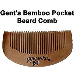 Menta Cafe Set de bolsillo Peine para barba–mejor calidad bambú, anti estática, no pega–perfecto para aceites y Balms–tamaño de bolsillo–de madera peine para barba