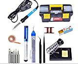 #2: Techtest Soldering Iron 220v 60w Adjustable Temperature Welding 5pcs Tips Kit Desoldering Pump Aluminum Stand Holder With Tip Cleaner Sponge Anti Static Tweezers Esd Wire Copper Wick Cleaning Rosin Solder Paste Accessories Plastic Tool Storage Box
