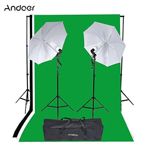 Andoer Photo Studio Kit Luce Ritratto Prodotto di Illuminazione Tenda Equipment (2 * 135W lampadina + 2 * portalampada + 2 * Umbrella + 3 * Fondali + 1 * fondale Stand + 2 * Tripod Stand + 1 Borsa )