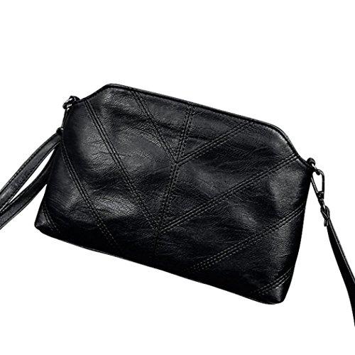 LETTER Handtaschen Umhängetasche Damen Umhängetasche Frauen-Tasche aus weichem Leder Messenger Bags Schwarz