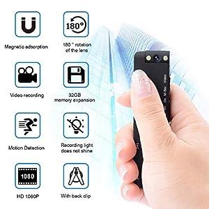 niñeras y cuidadores: Mini cámara oculta del espía, cámara fotográfica Full HD 1080P mini con detecció...