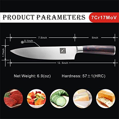 Imarku Profesional Cuchillo de Cocinero Acero al Carbono Inoxidable de Alta Calidad 21cm para Cocina