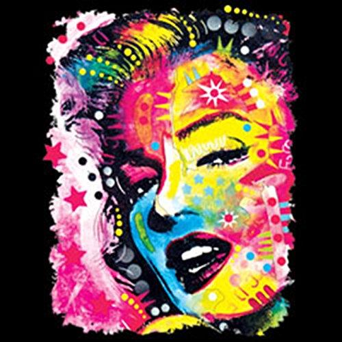Monroe/Herren/Langarmshirt-Longsleeve mit Neon - Motiv: Marilyn - lässiger Look Schwarz