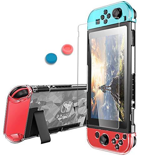 Pakesi Case für Nintendo Switch, kompatibel mit Nintendo Switch Case und gehärtetem Glas-Displayschutz (360 ° Full Enclosure Protection) - Clear Diamond Diamond Film Screen