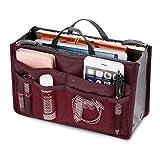 Handtasche Organizer Trading Handtasche Kosmetik Doppel-Reißverschluss Multifunktions Tasche hopper Ordnung Reise Make Up Koffer Tragbar 13 Taschen Bag von Yxaomite(Wein Rot)
