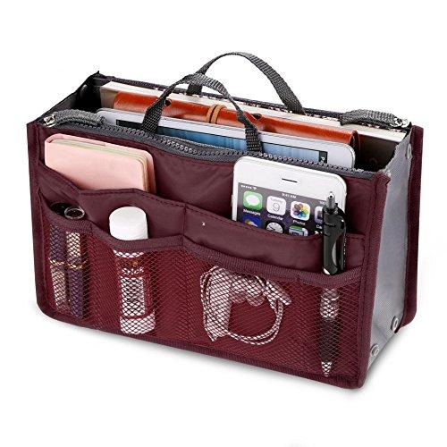 Handtasche Organizer Trading Handtasche Kosmetik Doppel-Reißverschluss Multifunktions Tasche hopper Ordnung Reise Make Up Koffer Tragbar 13 Taschen Bag von Yxaomite(Wein Rot) -