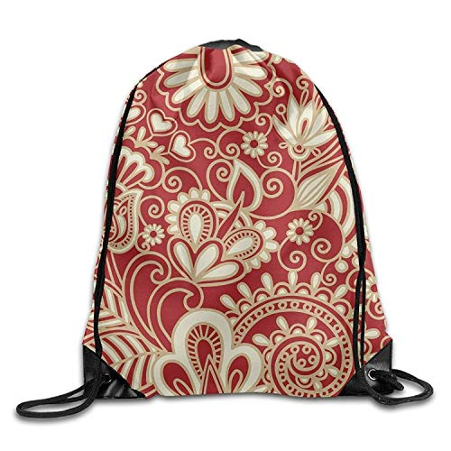 ing Bags Red Floral Crazy Draw Rope Shopping Travel Backpack Tote Student Camping ()
