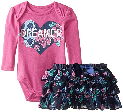 Baby Glam Outfit Langarmbody + Rock Blumenmuster Mädchen girl dress (62/68) -