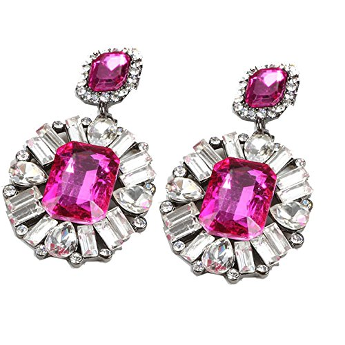 TBOP EARRING THE BEST OF PLANET SIMPLE & STYLISH high-end big earrings luxury super flash gemstone earrings in pink color