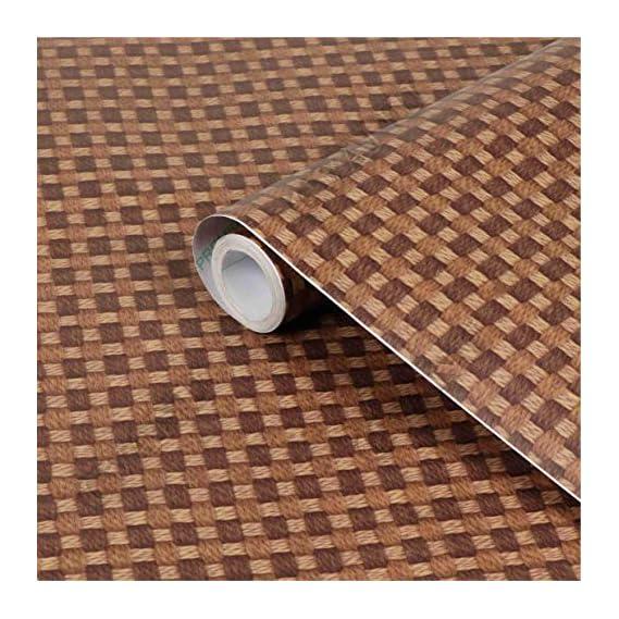 CVANU Self Adhesive Wood Grain Wallpaper Waterproof Old Furniture Vinyl Stickers Wooden Door Wardrobe Desktop PVC Wall Papers Cv448 12''x50''inch