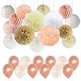 Décorations en papier de soie avec pompons, champagne et confettis pour fête d'anniversaire, mariage, fête prénatale, couleur champagne, pêche, ivoire, blanc