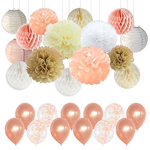 Party Seidenpapier Pom Poms Dekorationen mit Champagner und Konfetti Luftballons für Geburtstag Party Decor Hochzeit Party Decor Baby Dusche Decor-Champagner, Pfirsich, Elfenbein, Weiß