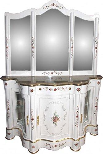 Casa Padrino Luxus Barock Schrank mit Spiegelkonsole Weiß Handbemalt mit Marmorplatte - Luxus Möbel Konsole mit Spiegel