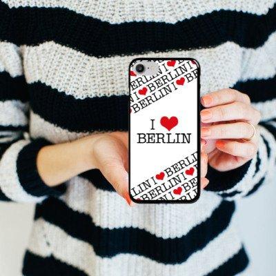 Apple iPhone X Silikon Hülle Case Schutzhülle Berlin Love Statement Hard Case schwarz