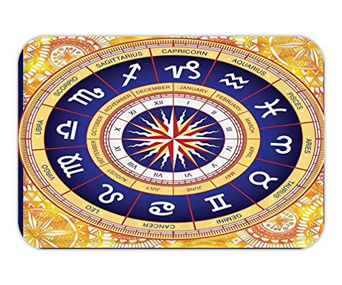 LULABE Doormat Home Decor Astrological Wheel SignHoroscopeHippie for Clawfoot Tub Meditational Exotic Decor Art PrintFabric Yellow Navy Coral 23.6 W X 15.7 W Inches