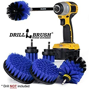 Drillbrush Ultimate Boat Cleaning Kit with 7 Inch Extension - Pool Accessories - Drill Brush - Carpet Cleaner - Algae - Oxidation - Deck Brush - Slide - Steps - Hot Tub - Spa - Jacuzzi - Pool Brush