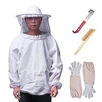 Winbang Ensemble d'outil d'apiculture, équipement de Protection d'apiculture Respirant Costume d'apiculture Veste à Manches Longues avec Gants Brosse en Ruche d'abeille Crochet en j
