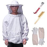 ONEVER 4PCS conjunto de herramientas de traje de apicultura - kit de herramientas de velo de traje de apicultor, guantes de manga larga cepillo de colmena de abejas J equipo de medio cuerpo de gancho enganche