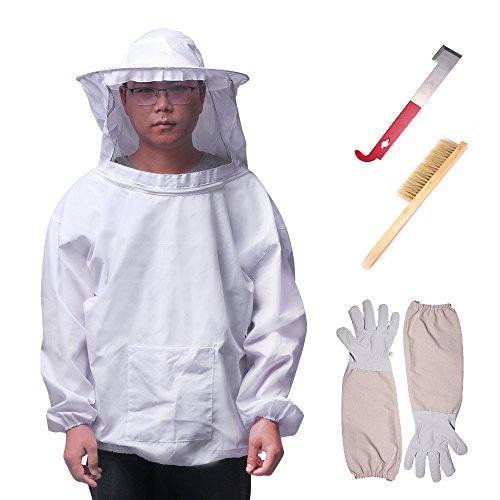 ONEVER 4PCS Imkerei Anzug Werkzeug Set - Imker Anzug Schleier Werkzeuge Kit, Langarm Handschuhe Bee Hive Pinsel J Haken Hive Halbkörper Ausrüstung -