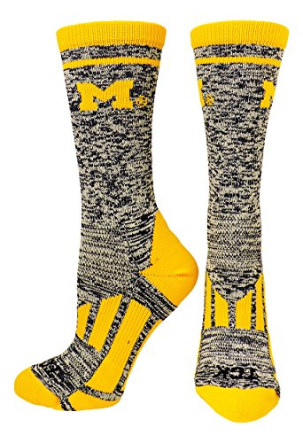 TCK Sports Universität von Michigan Wolverines Heathered Crew Socken, Jungen Damen Mädchen Herren, Navy/White/Gold, X-Large -
