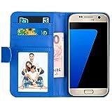 Samsung Galaxy S7 Hülle , EnGive Premium Wallet Ledertasche mit Standfunktion und Karte Halter für Samsung Galaxy S7 Hülle -Blau