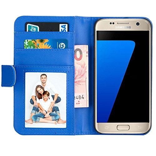 Samsung Galaxy S7 Hülle , EnGive Premium Wallet Ledertasche mit Standfunktion & Karte Halter für Samsung Galaxy S7 Hülle -Blau