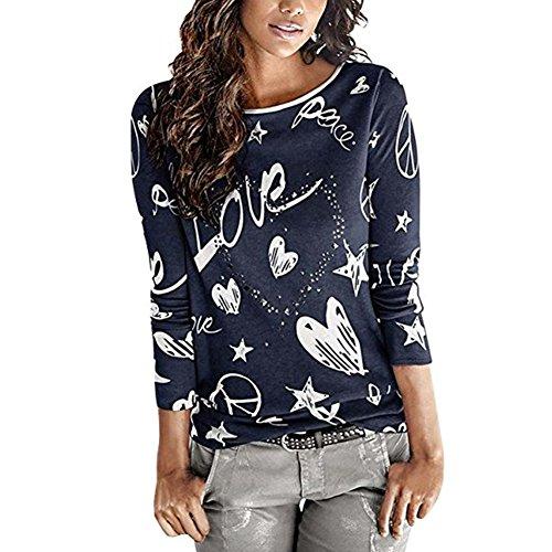 Groß Und Hoch Knopf Manschette Hemd (Juleya Damen Langarm Rundhals Pullover - Frauen Cartoon Herz Lose Sweatshirt Oberteil Tops Hemd Blau, Kaffee, Grau, Rosa)
