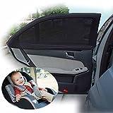 2pcs Fundas para parasol para ventanilla coche sol sombra protector solar plegable malla cubre bebé niños niños mascotas perro protección UV negro