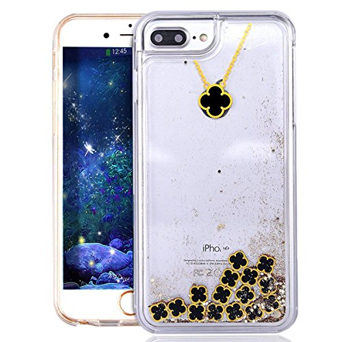 iPhone 7 Plus Case Transparent Glitzer Flüssig Hart Hülle,iPhone 7 Plus (Not für iPhone 7 4.7 Zoll) Hülle Crystal Clear Glitzer Liquid Hard Case,EMAXELERS iPhone 7 Plus Hülle für Mädchen,iPhone 7 Plus I Clover 5
