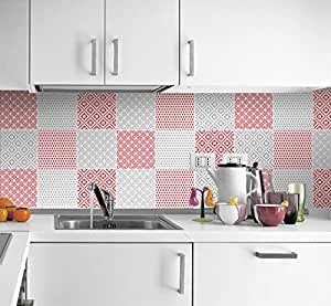 sticker muraux carrelage pour cuisine motif rouge et gris pack avec 24 10 x 10 cm. Black Bedroom Furniture Sets. Home Design Ideas