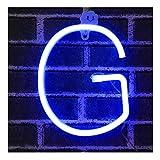 Bleu Néon Lettre Signes Nuit Lumière LED Marquee Lettres Néon Art Décoratif Lumières Mur Décor pour Enfants Chambre De Bébé De Noël Fête De Mariage Décoration (G)