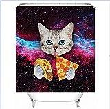 Katze Duschvorhang Lustige Gedruckt Wasserdichte Polyester Bad Vorhang Bad-Accessoires 180X180 cm Vorhänge Dekoration