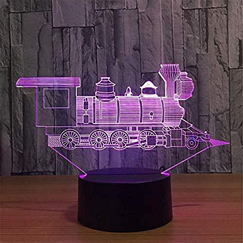 Luce Notturna Locomotiva 3D Luz Lampada Per Treno A Visione Stereoscopica Solare Acrilico 7 Colori Cambio Usb Camera Da Letto Comodino Lampada Da Scrivania Lampada Da Notte Decorazioni Per Bamb
