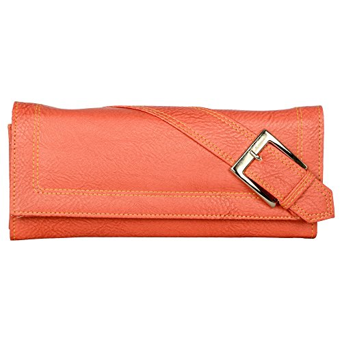 Cuddle High Quality Faux Laeather Wallet/Clutch for Women / Girls - Peach