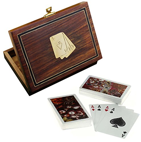 Titular de la tarjeta de madera para jugar a las cartas - 2 mazos de c