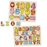 Lewo Holzpuzzles Alphabet Nummer Brettspiele Lernen Puzzle Lernspielzeug für 1 2 3 4 5 Jahre alt Kleinkinder Baby Mädchen Jungen