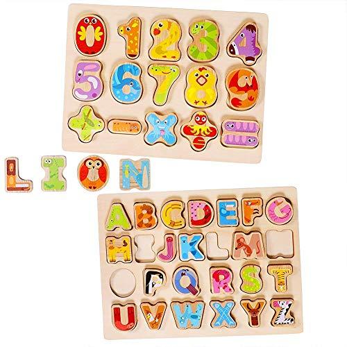 Lewo Puzzles Madera Número Alfabeto Juegos Mesa Aprendiendo