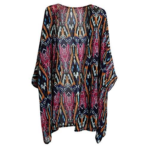 MagiDeal Donne Chiffone Allentate Scialle Cardigan Boho Camicetta Top T-shirt da Spiaggia Estate #5