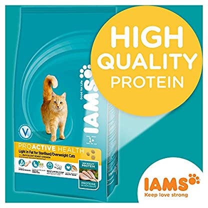 Iams ProActive Health Complete and Balanced Cat Food with Chicken for Sterilised and Overweight Cats, 10 kg 3