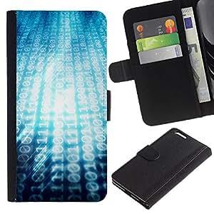 MobileX / Apple Iphone 6 PLUS 5.5 / 00101101 Ascii Binari Code / Cuir PU Portefeuille Coverture Shell Armure Coque Coq Cas Etui Housse Case Cover Wallet Credit Card