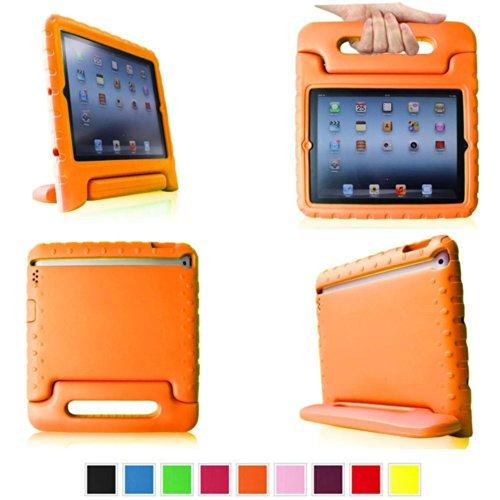 Aeontop Carry Maniglia Caso/ Custodia di EVA con Supporto e Manico/ Custodia Protettiva Antiurto con Supporto per Bambini per Apple iPad 2/3/4, Pellicola di Protezione e dello stilo Incluse,Arancio
