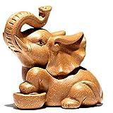 Elefant Figur Lila Sand Tee Haustier Tee Haustier Dekoration Zisha Tee Zeremonie Zubehör Abschnitt Schlamm Jixiang kleinen Tee Haustier (Color : Yellow, Size : 4.4 * 5.4cm)