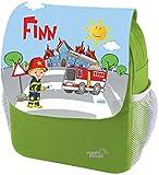 Mein Zwergenland Kindergartenrucksack Happy Knirps Next Print mit Name Feuerwehr, 6L, Grün