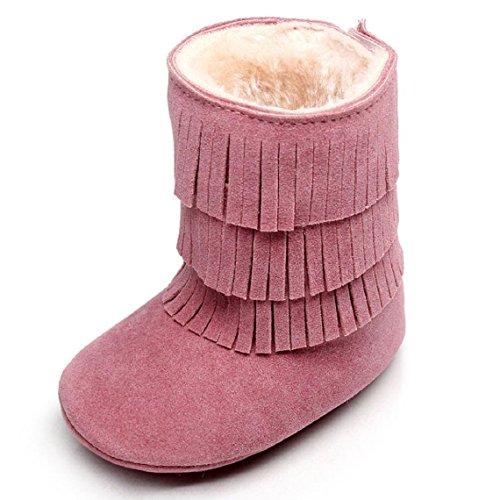 OverDose Baby-Kind Jungen Mädchen Winter Warmhalte Double deck Quasten weichen Schnee lädt weiche Krippe Baumwolle Schuhe Kleinkind Botts 0 ~ 6 Monate 6 ~ 12 Monate 12 ~ 18 Monate 18 ~ 24 Monate Rosa
